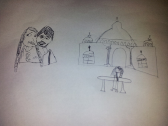 Callum's interpretation of Jo and Kristian and the Taj Mahal