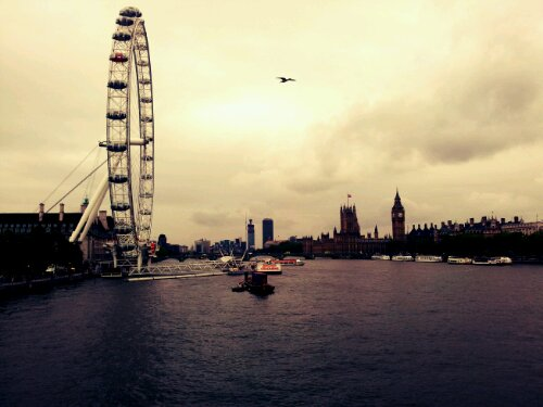 Travels: London eye, the Thames & Houses of Parliament